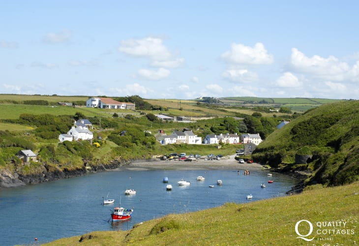 Abercastle - a pretty sheltered cove a mile away along the coast - popular for swimming, kayaking and fishing