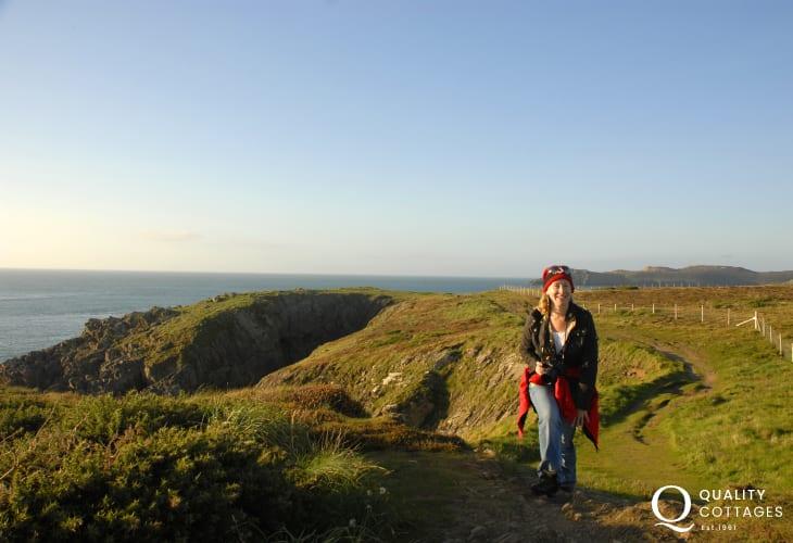 Enjoying the Pembrokeshire Coast Path up on St Davids Head