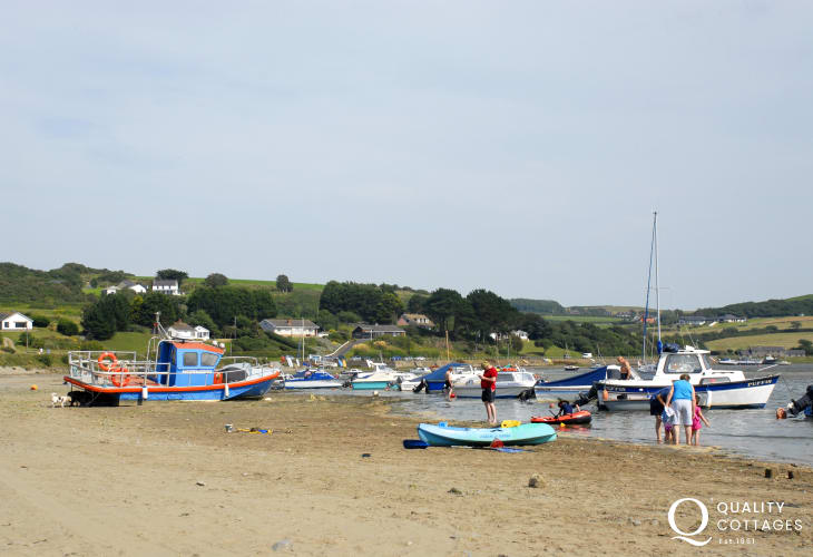 Gwbert's 'Patch' beach, Boat trips for spottingbird and marine life leave from the pontoon here at the Teifi Sailing Club during the season
