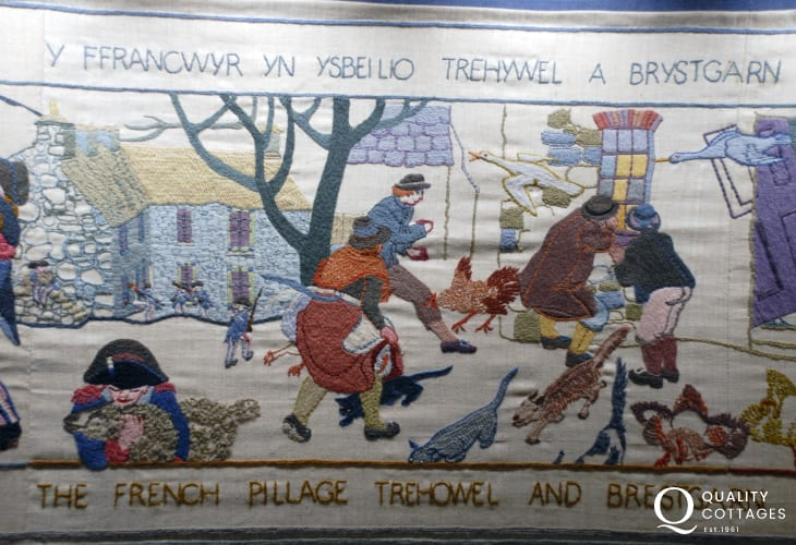 The internationally famous 'Last Invasion Tapestry' is on display at Fishguard Town Hall