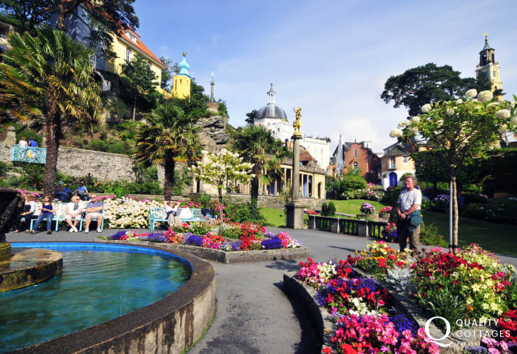 Italianate village at Portmeirion it boasts a profusion of flowers in the gardens