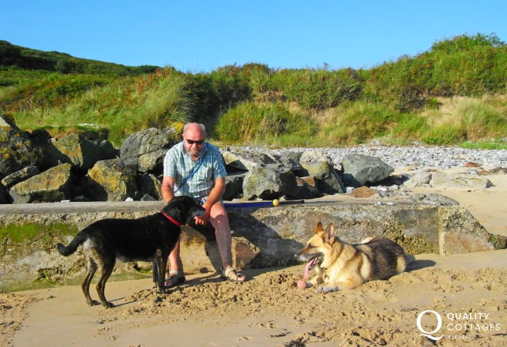 Down on the beach nearby - many of our holiday cottages welcome dogs