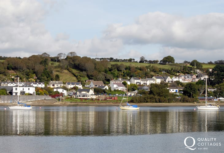 Views across the Cleddau River from The Ferry Inn, which serves excellent pub food