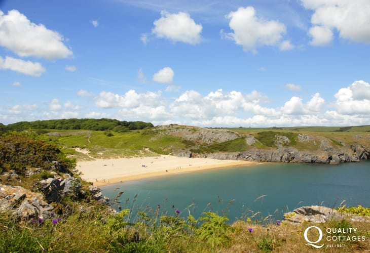 Exotic Barafundle Bay (N.T) - Swathes of golden sand and crystal clear waters reached by a short walk from Stackpole Quay on the Pembrokeshire Coast Path