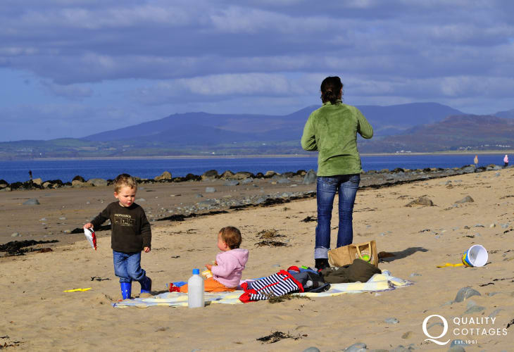 The beach at Harlech stretches for miles with fabulous dunes to explore