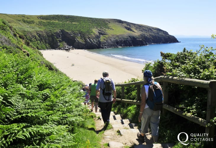 Deviate from the coastal path and climb down the steps to the fabulous Porth Ceiriad beach near Abersoch