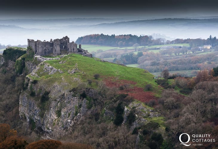 Carreg Cennen Castle - the beautiful Carmarthenshire countryside is dotted with romantic ruined castles and a dozen sleepy market towns