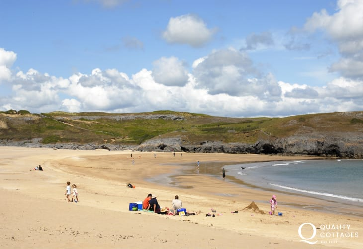 The golden sandy beach of Broad Haven south (National Trust) is only a short walk around the Lily ponds, Bosherston