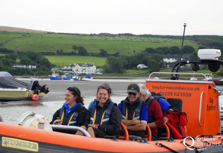 Do take a boat trip out to spot resident Bottle-nosed dolphins, seals, porpoise, seabirds an amazing wildlife adventure and spectacular scenery. Boats run from The Patch at Cardigan Sailing Club, Gwbert