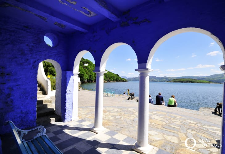 Do visit the Italianate village at Portmeirion on the northern shore of Tremadog Bay - famous for its architecture, pottery and the 60's TV series 'The Prisoner'