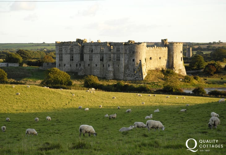 Carew Castle mill pond and (to the right out of view) the fully restored tidal mill