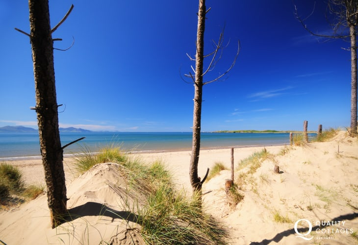 Newborough beach and Llanddwyn Island on Anglesey