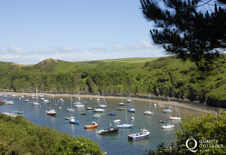 Watch the boats and walk the sandy shores at low tide at Solva Harbour