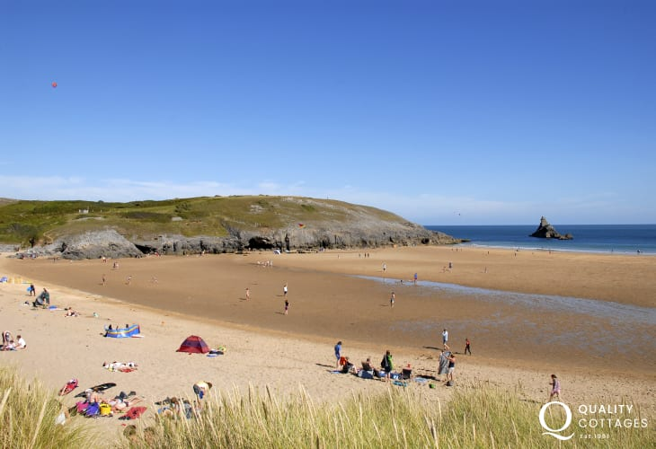 Walk through the Lily Ponds to stunning Broad Haven South Beach (N.T.) with the famous 'Church Rock' in the bay