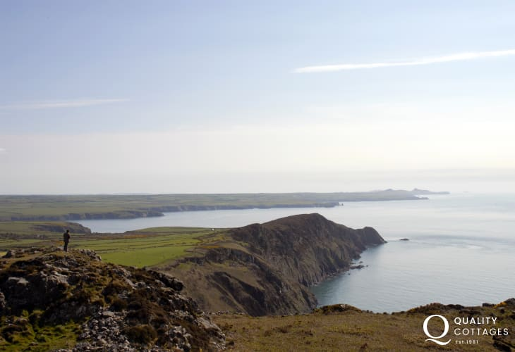 The breathtaking view from Garn Fawr as it stretches down over Pwll Deri to St Davids Head beyond