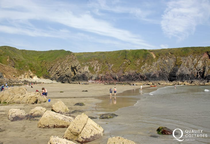 Caerfai Beach - a lovely south facing sandy beach