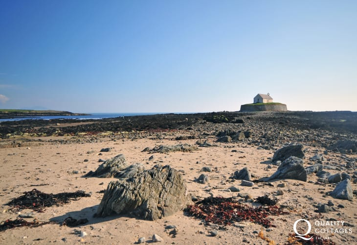 'The church in the sea', St Cwfan's, just outside the village of Aberffraw