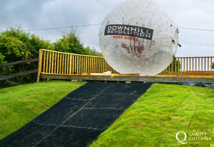 Zorbing at Nolton Stables is a thrilling experience for the more adventurous of you!