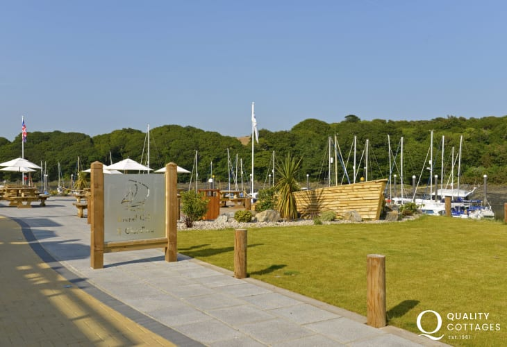The Bar Restaurant at Neyland Marina over looks luxury yachts and the Haven - the perfect place to relax