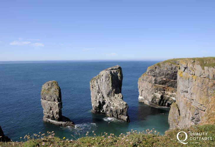 Walk the Pembrokeshire Coast Path along majestic cliff top headlands for superb coastal scenery