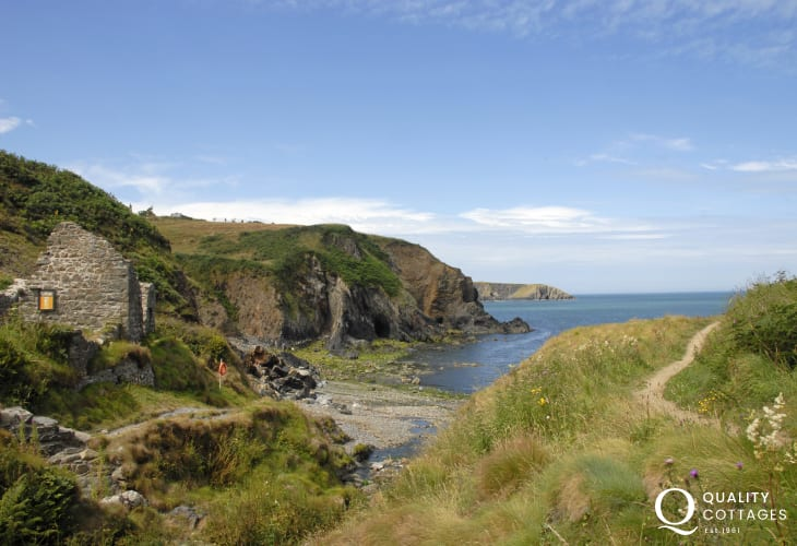 Coast Path at nearby Trefin is overlooked by the old mill