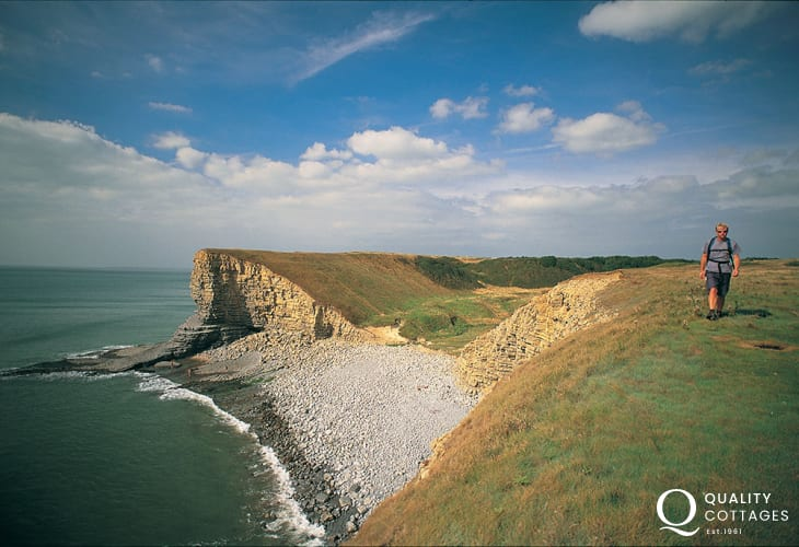 Walking the cliff-top path at Nash point.