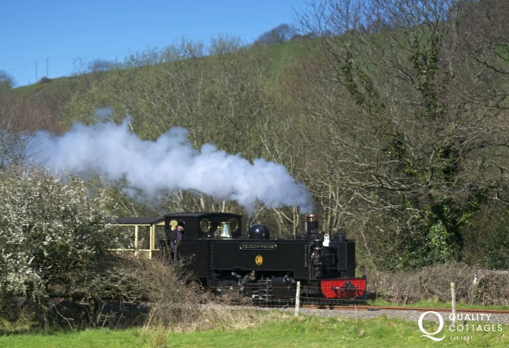 Vale of Rheidol steam train passing at Llanbadarn Fawr