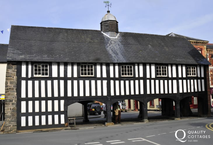 The only surviving timber-framed market hall in Wales at Llanidloes where locals meet and pass the time of day
