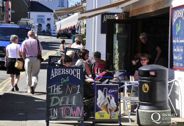 The streets of Abersoch are lively with plenty of eating places