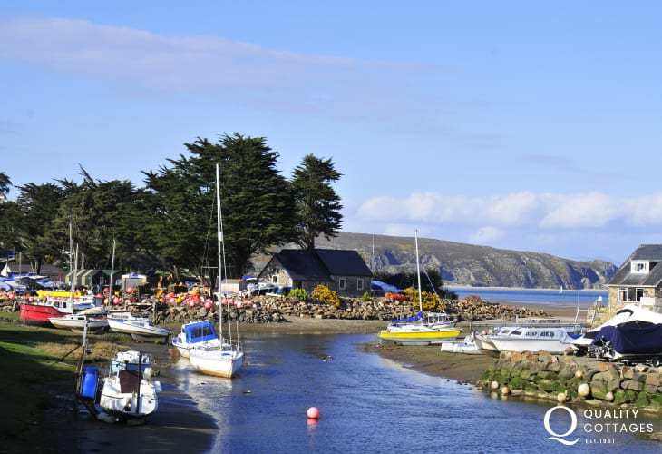 The colourful boat yard at the harbour in Abersoch