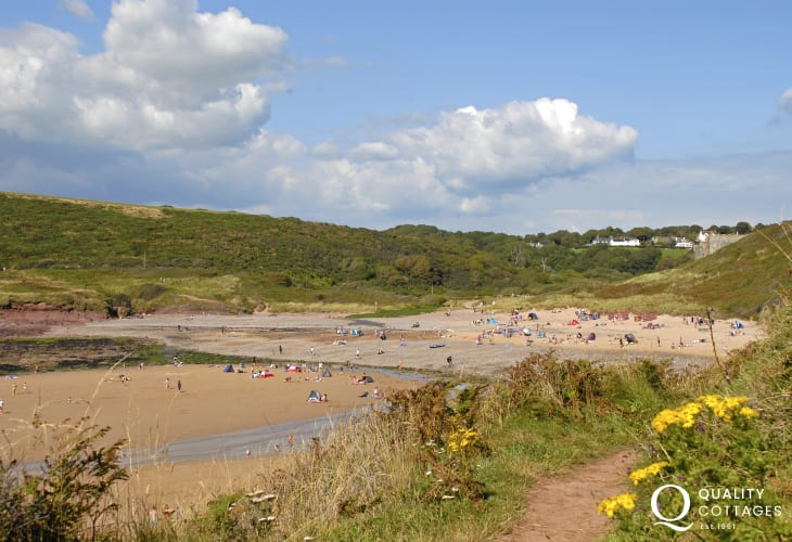 Manorbier Beach is a great beach for fishing, surfing