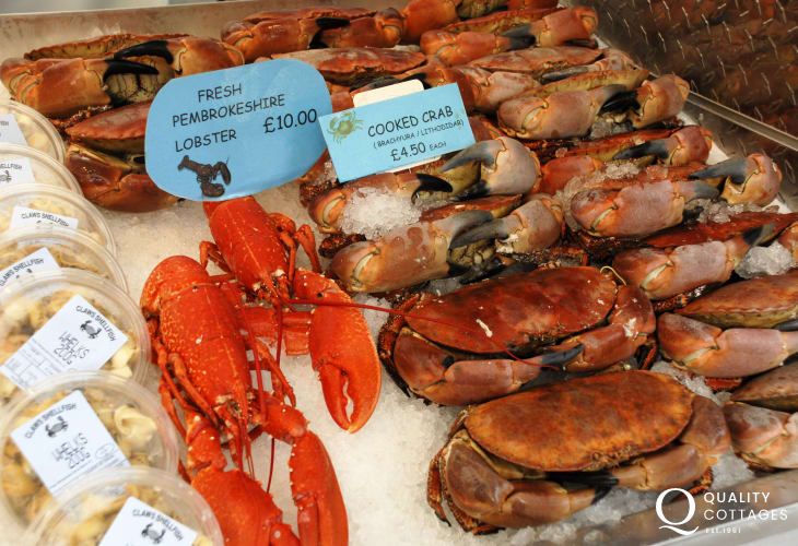 Delicious fresh seafood is often available at the fortnightly Farmers Market, Haverfordwest during the summer months