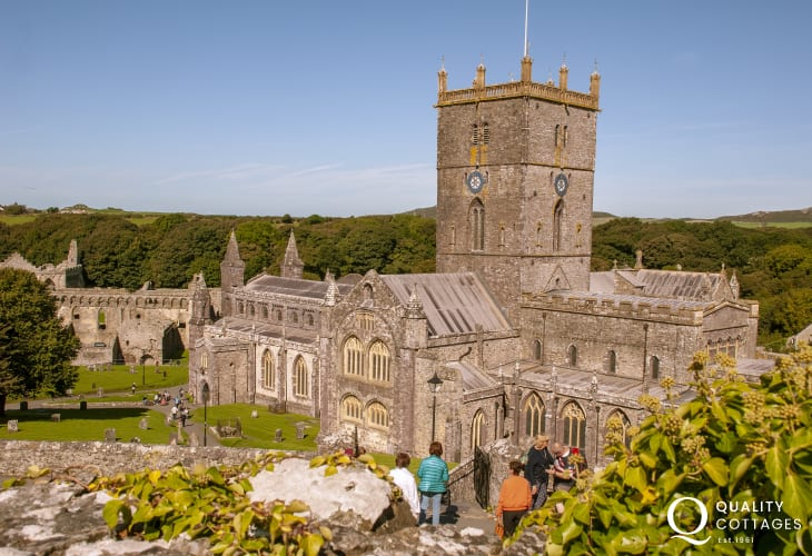 St Davids 12th century cathedral and ruined Bishops Palace