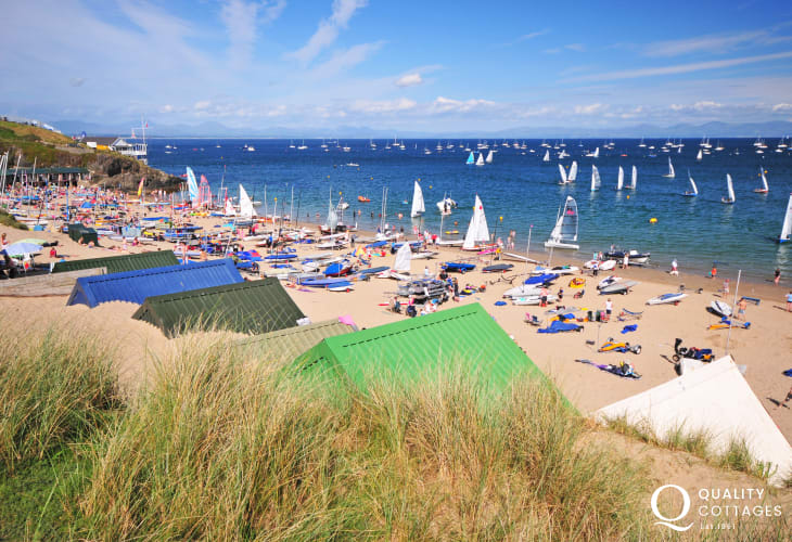 Abersoch beach is popular for family fun and watersports enthusiasts