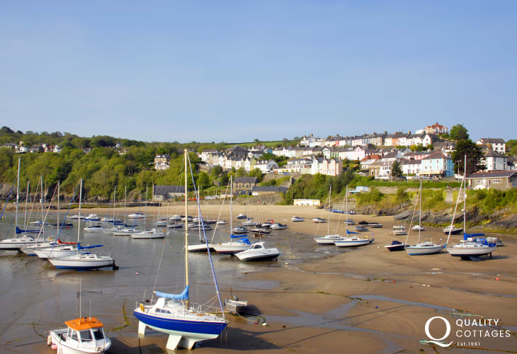 New Quay's Harbour Beach - one of 3 Blue Flag beaches to choose from in this popular resort