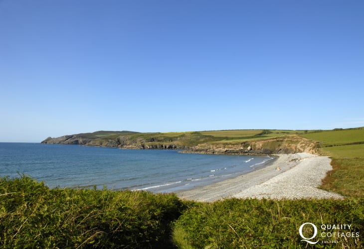 Abermawr beach (N.T), is backed a lovely woodland - covered in bluebells in early spring