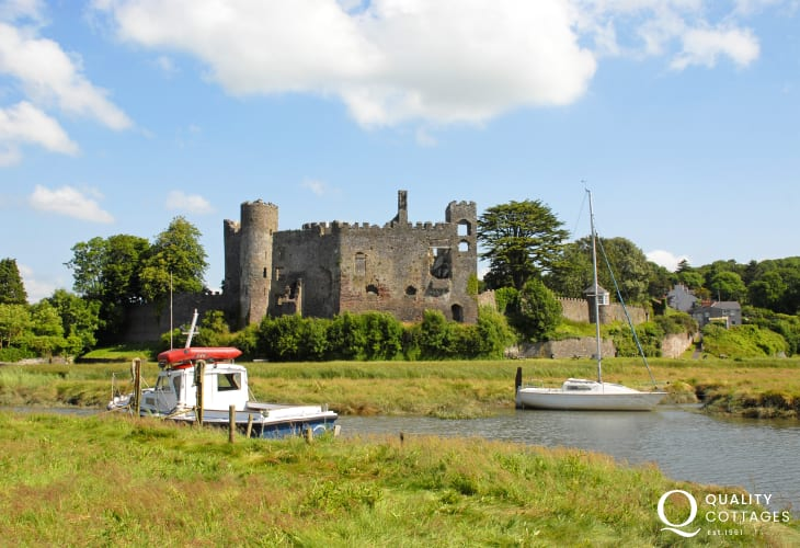 Laugharne Castle - a magnificent ruin which overlooks the waters of the Taf Estuary