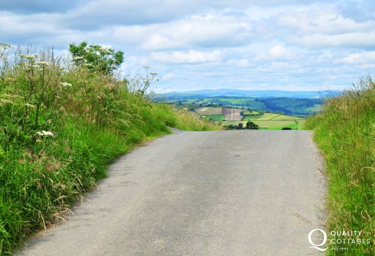 Enjoy the quiet country lanes. Pictured here is The Kerry Ridgeway, one of the best walks the Welsh Marshes has to offer