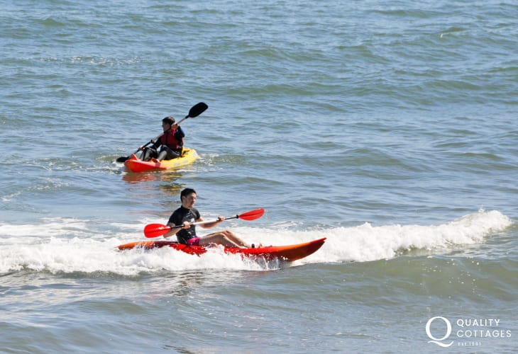 Whitesands Beach is a great location for sea kayaking or catching the waves on a surf board