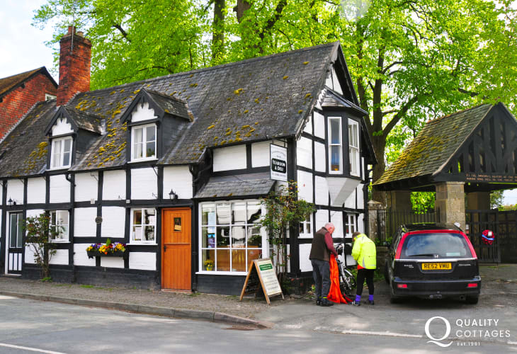 Berriew village full of black and white houses and the wonderful Lychgate Deli and Tea Room