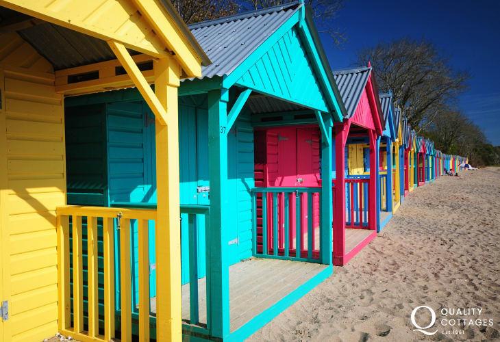 Llanbedrog beach huts & long sandy beach