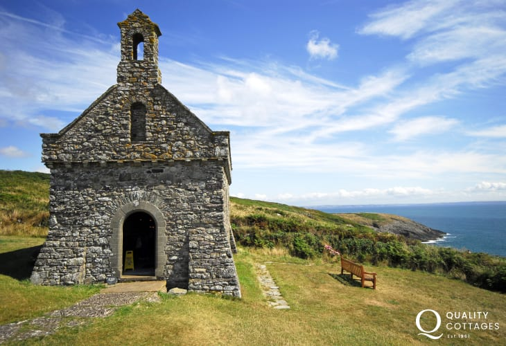 The Chapel of St Non and sacred well sits along the spectacular Pembrokeshire Coast Path and is believed to be the birth place  of St David