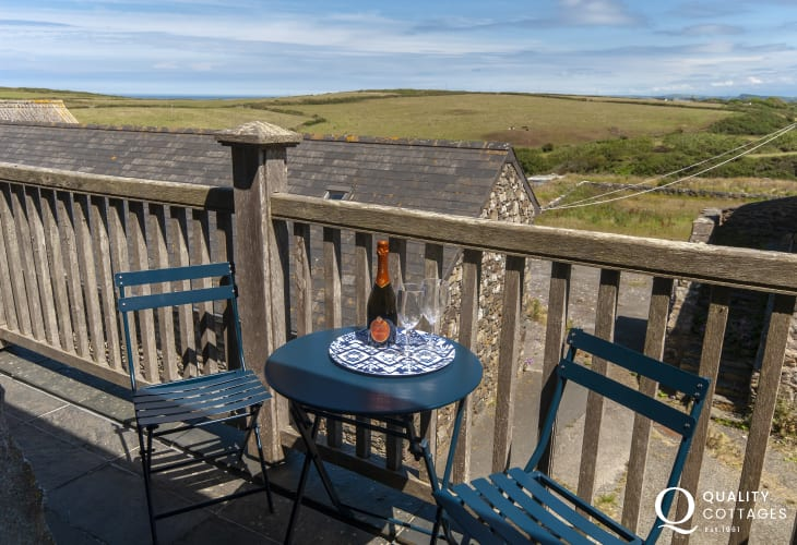 Strumble Head holiday penthouse with small terrace area overlooking the coast
