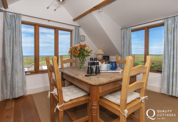 North Pembrokeshire Pwll Deri farmhouse apartment - open plan kitchen/diner with coastal views