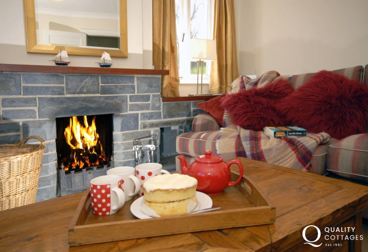 Cosy by the fire at Seafields New Quay