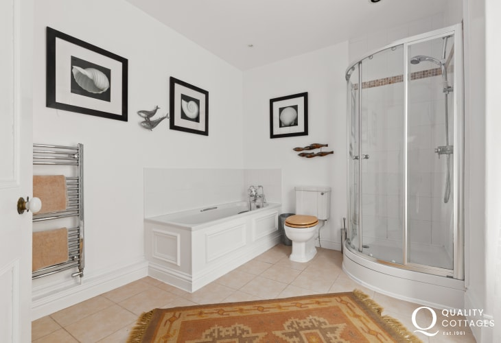 Cardigan Bay holiday cottage - family bathroom with separate shower