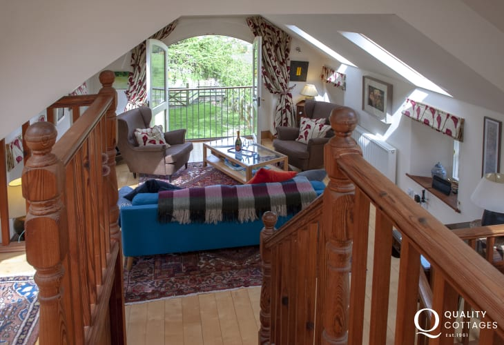 Cosy Welsh holiday cottage mezzanine to the living room
