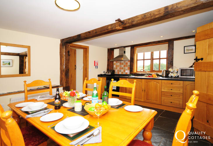 Spacious kitchen with stunning views mid Wales