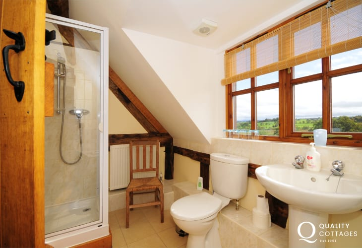 Bathroom on first floor of Mid Wales holiday cottage