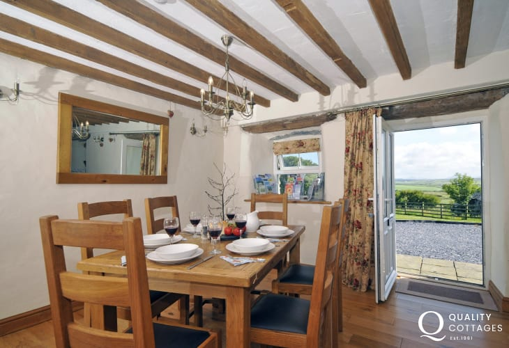 Open plan lounge/dining room in holiday cottage near Aberdaron